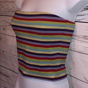 Moda Int'l Brightly Colored Striped Tube Top Sz S